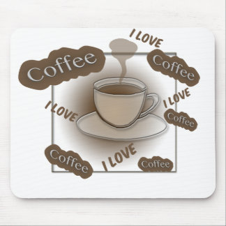 I Love Coffee Cup Mouse Pad