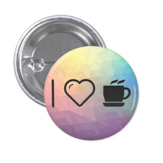 I Love Coffee Cups 1 Inch Round Button