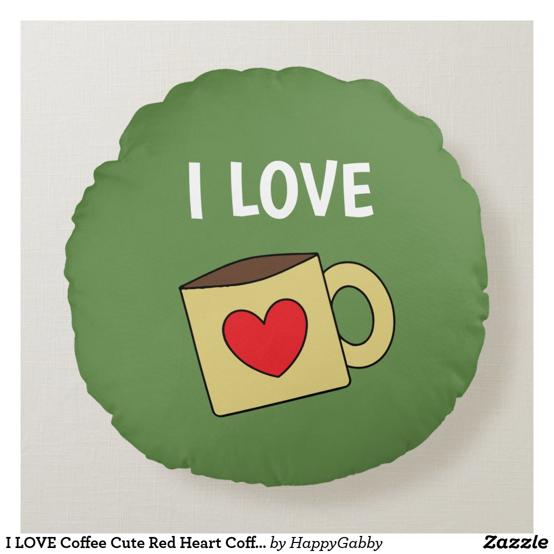 Cute Coffee Mug Print Round Pillow