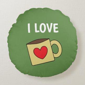 Cute Coffee Mug Print Round Pillow
