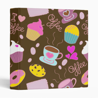 I Love Coffee Fine Cute Girly Doodle 3 Ring Binder