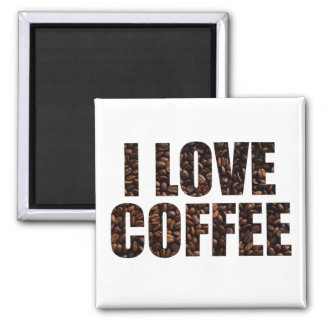 I Love Coffee in Roasted Coffee Beans Font Magnet