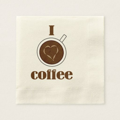 I Love Coffee Latte Heart Paper Napkins