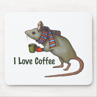 I Love Coffee: Mouse: Original Freehand Art Mouse Pad