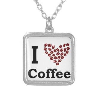 I Love Coffee Square Pendant Necklace