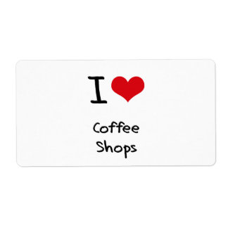 I love Coffee Shops Shipping Label