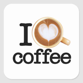 I Love Coffee Square Sticker