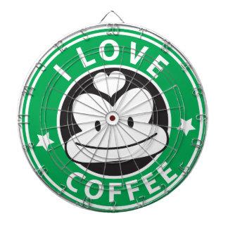 I love coffee with cute green monkey dartboard