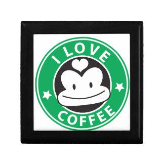 I love coffee with cute green monkey gift box