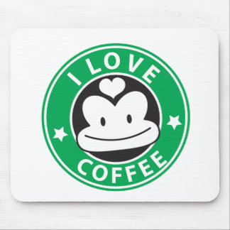 I love coffee with cute green monkey mouse pad