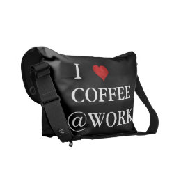 I Love Coffee @Work Funny Black White Courier Bag