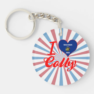 I Love Colby, Wisconsin Single-Sided Round Acrylic Keychain