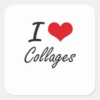 I love Collages Artistic Design Square Sticker