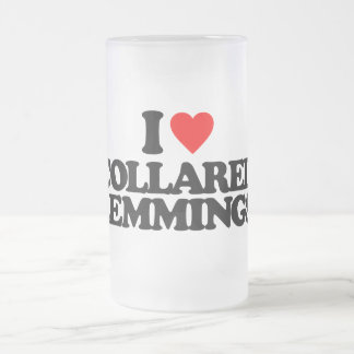 I LOVE COLLARED LEMMINGS 16 OZ FROSTED GLASS BEER MUG