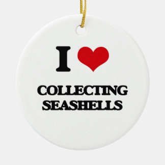 I love Collecting Seashells Double-Sided Ceramic Round Christmas Ornament