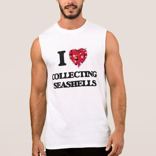 I love Collecting Seashells Sleeveless Tee Tank Tops, Tanktops Shirts