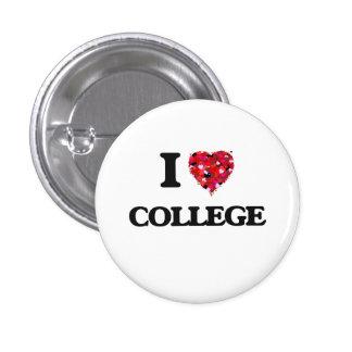 I Love College 1 Inch Round Button