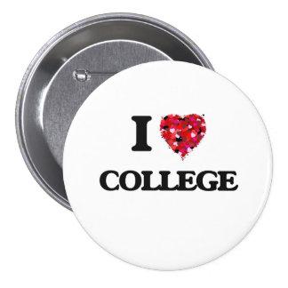 I Love College 3 Inch Round Button
