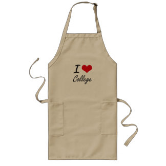 I Love College Artistic Design Long Apron