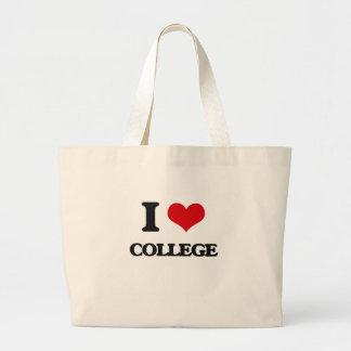 I Love College Tote Bags