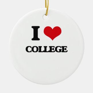 I Love College Double-Sided Ceramic Round Christmas Ornament