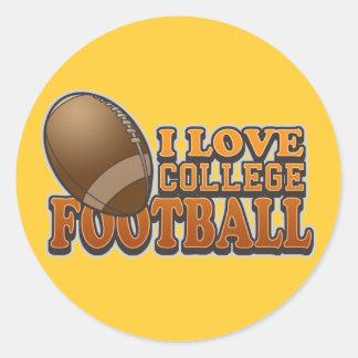 I Love College Football Classic Round Sticker