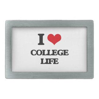 I Love College Life Rectangular Belt Buckle