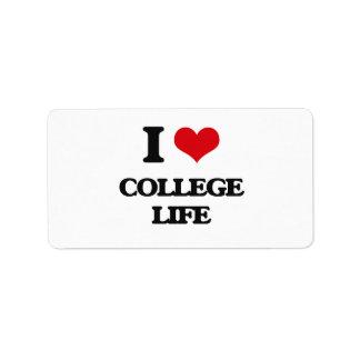 I Love College Life Custom Address Label