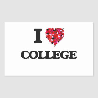 I Love College Rectangular Sticker