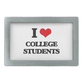 I love College Students Rectangular Belt Buckle