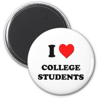 I love College Students 2 Inch Round Magnet