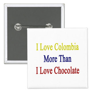 I Love Colombia More Than I Love Chocolate 2 Inch Square Button