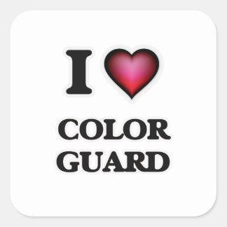I Love Color Guard Square Sticker