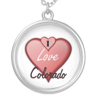 I Love Colorado Round Pendant Necklace