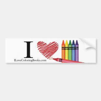 I Love Coloring Books Sticker Car Bumper Sticker