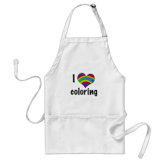 I Love Coloring with Rainbow Heart Adult Apron