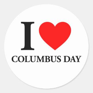 I Love Columbus Day Classic Round Sticker