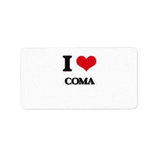 I love Coma Address Label