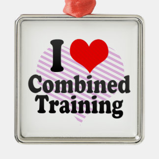 I love Combined Training Square Metal Christmas Ornament