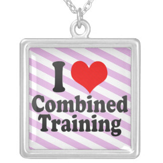 I love Combined Training Square Pendant Necklace