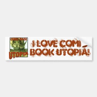 I Love Comic Book Utopia Retro 3  Bumper Sticker Car Bumper Sticker