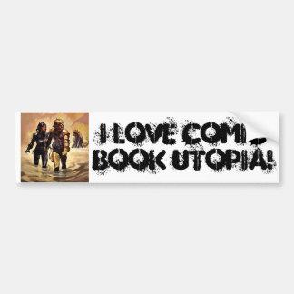 I Love Comic Book Utopia Retro 4  Bumper Sticker Car Bumper Sticker