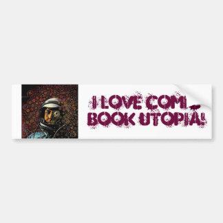 I Love Comic Book Utopia Retro One Bumper Sticker Car Bumper Sticker