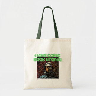 I Love Comic Book Utopia Retro Tote Bag