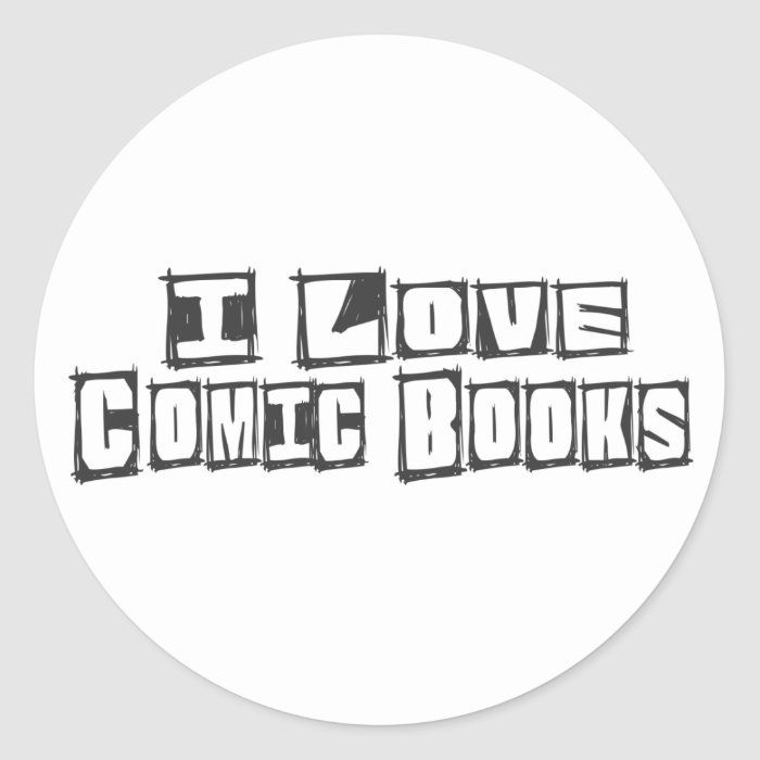 I Love Comic Books Classic Round Sticker