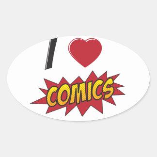 I love comics! oval sticker