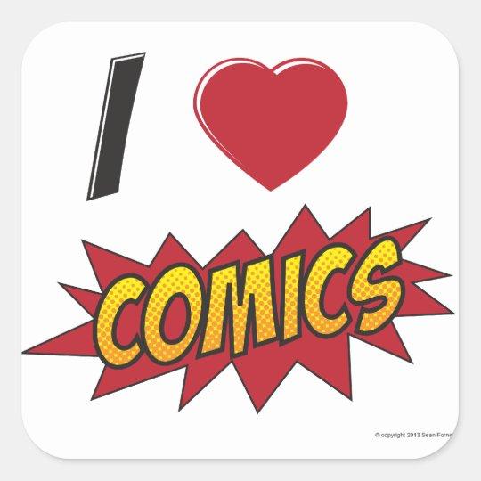 I love comics! square sticker