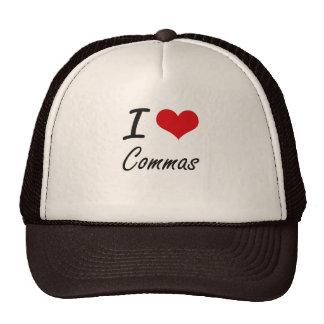 I love Commas Artistic Design Trucker Hat