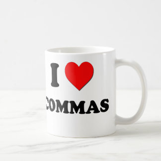 I love Commas Classic White Coffee Mug