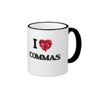 I love Commas Ringer Coffee Mug